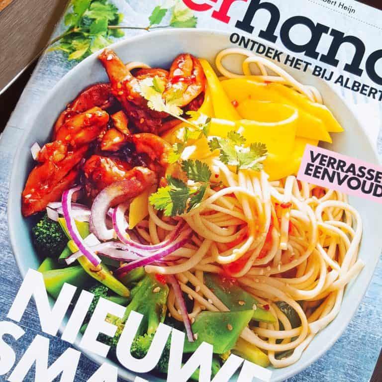 Noedel-salade met mango & sticky kip - testrecept Allerhande april 2016