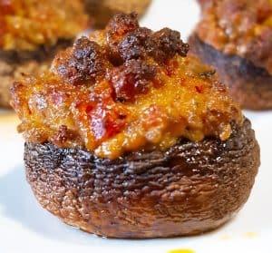 Champignons gevuld met Boursin en chorizo