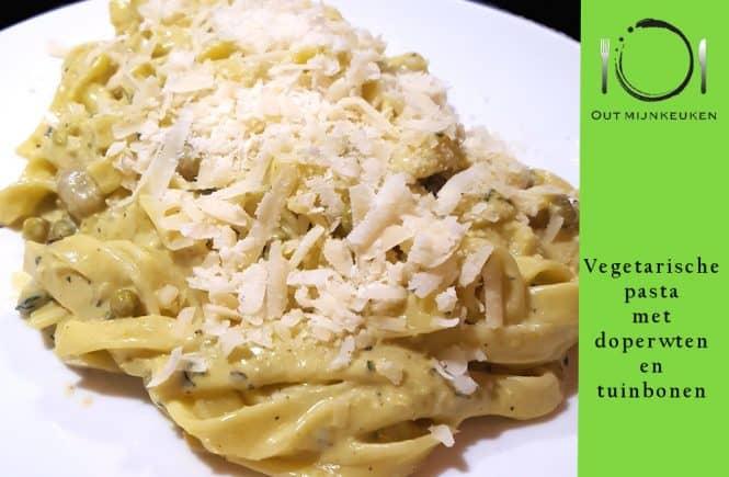Recept Vegetarische pasta met doperwten en tuinbonen
