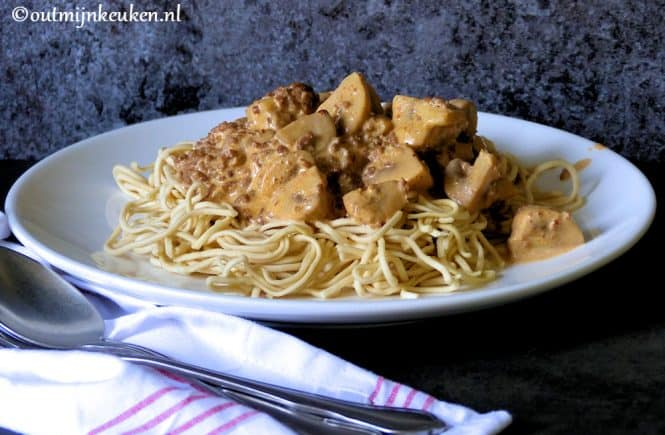 Recept snelle noodles stroganoff