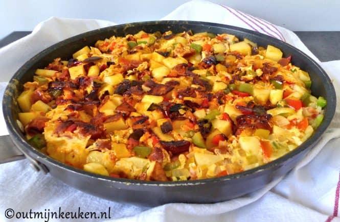Aardappel tortilla met chorizo recept