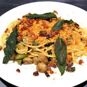 pasta met champignons, salie en chorizo kruim 3