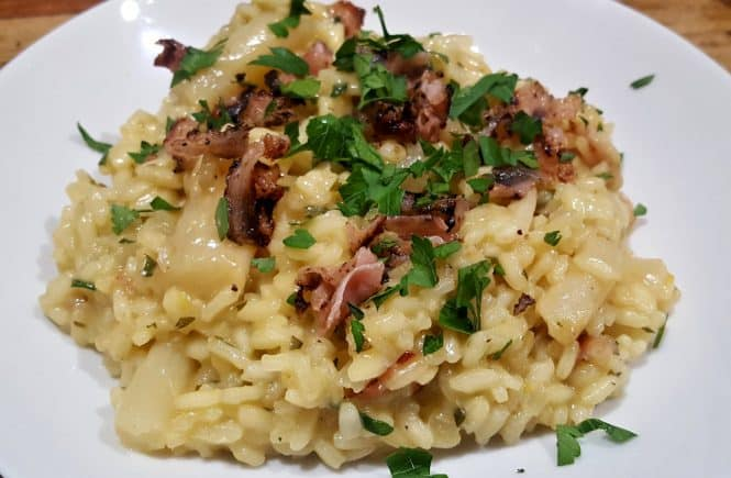 risotto met schorseneren, peterselieboter en bacon
