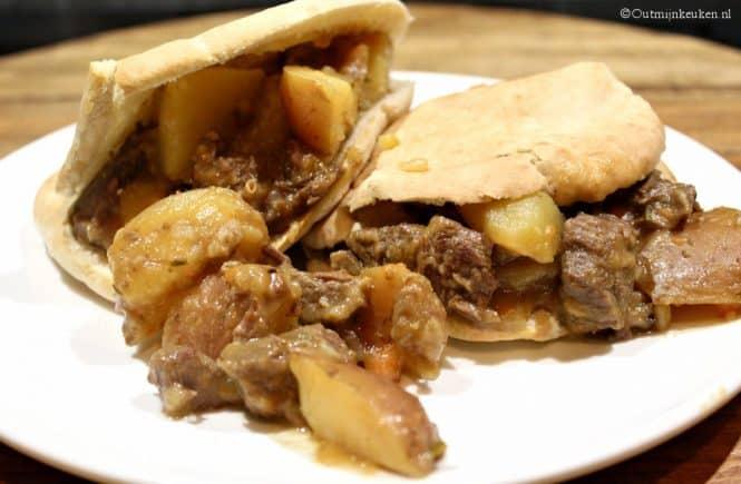 Stoofvlees op pita